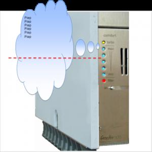 Lüftungssystem freeAir 100 rot blinkt schnell und akustische Warnung dauerhaft wenn Temperatursensor mehr als 80°Grad anzeigt