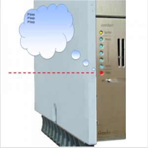 Wohnungslüftung freeAir 100 schnelles Blinken und Signal zeigt CO² Gehalt