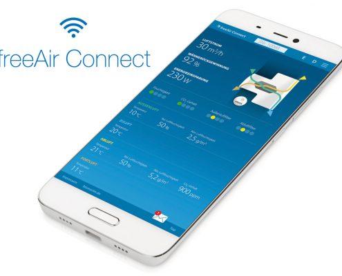 Smartphone-Steuerung für freeAir-Lüftungsgerät